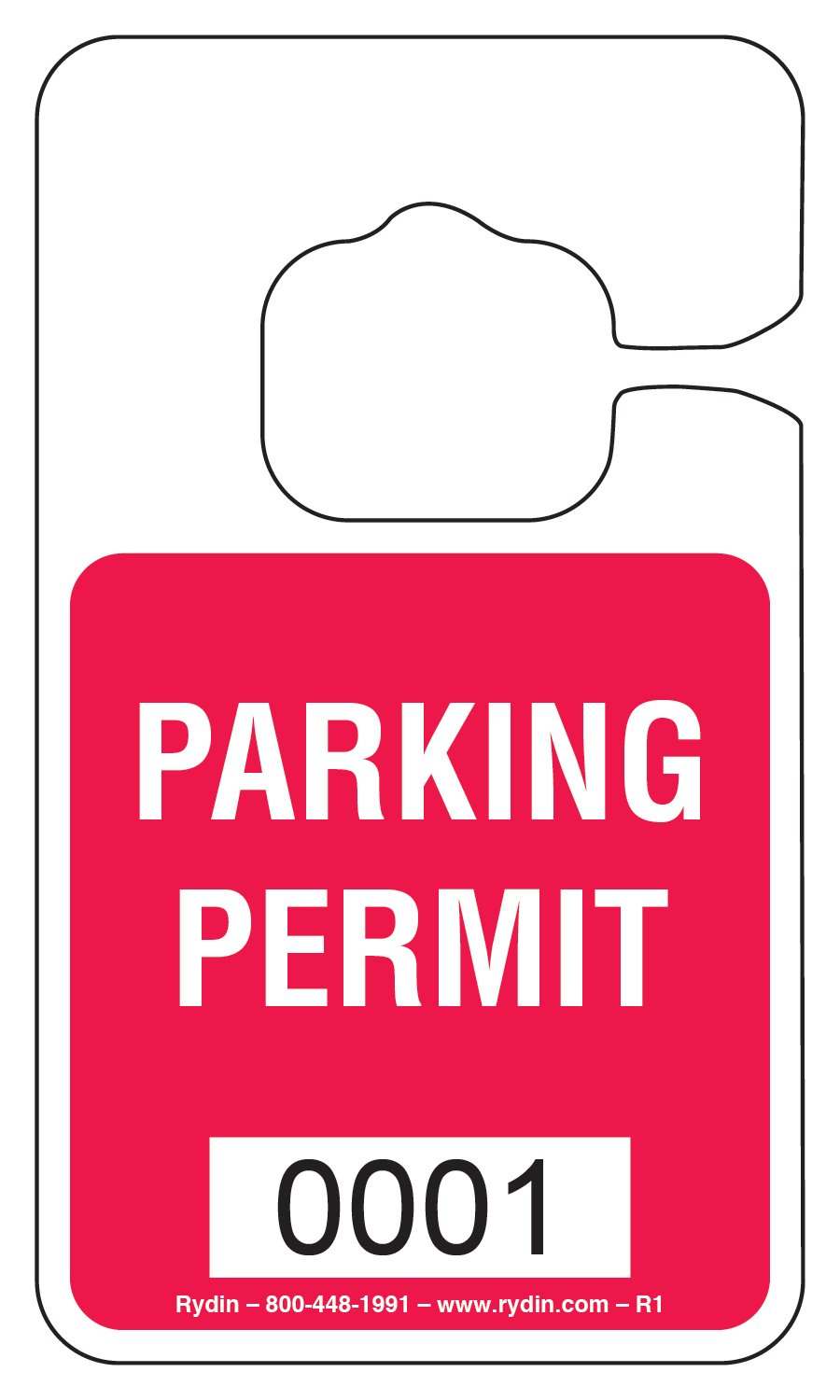 Parking Permit Hang Tag - 100 Pack (Red)