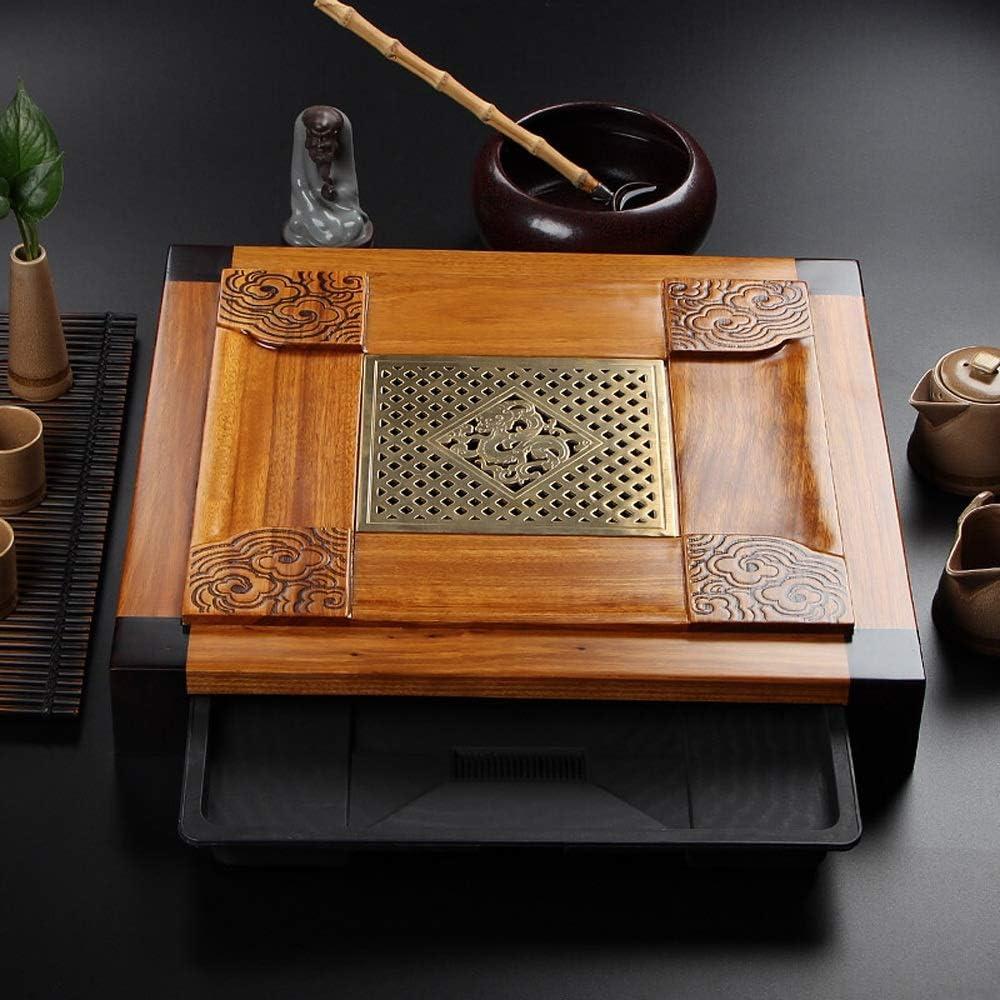 中国のカンフー茶トレイ トレイの伝統的な彫刻ティートレイ上品にサービスを提供Gongfu茶表を設計した中空 ミニカンフーティートレイ (Color : Natural, Size : 48x43x7cm)