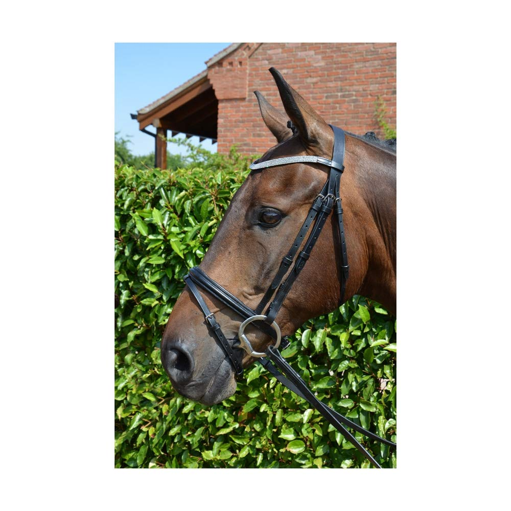 Brown UK Size  Cob Brown UK Size  Cob Hy Diamond Flash Bridle with Rubber Reins