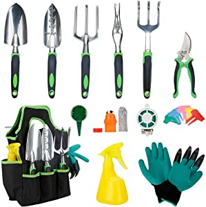 SILIVN 32 PCS Garden Tools Set Heavy Duty Aluminum Manual Garden kit Outdoor Gardening Gifts Tools Set for Men Women,with Non-Slip Rubber Grip, Storage Tote Bag, Outdoor Hand Tools, Green