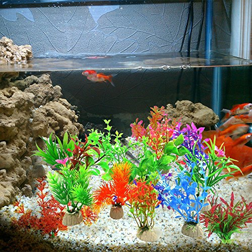 10-Pack-Artificial-Aquarium-Plants-Small-Size-4-to-45-inch-Approximate-Height-Comsun-Fish-Tank-Decorations-Home-Dcor-Plastic-Assorted-Color