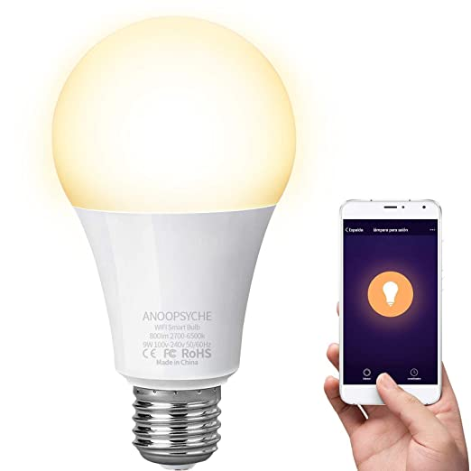 Bombilla Inteligente LED WiFi Lámpara ANOOPSYCHE Smart Bulb E27 9W 2700K-6500K 800LM Equivalente 60W Bombilla Luz Blanca Cálida a Fría Regulable, ...