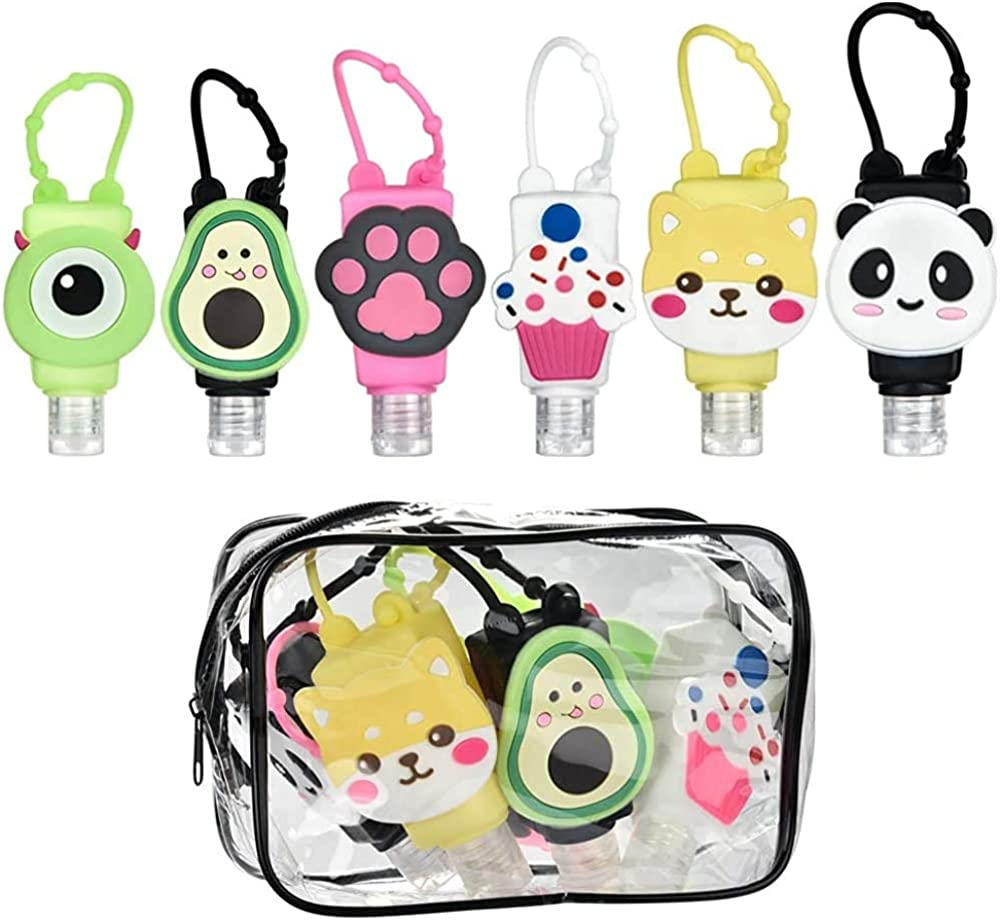 6 Pack Cartoon Mini Hand Sanitizer Split Bottles Travel Portable Hand Gel Holder for Kids Adults with Carry Bag,30ml Caapcity