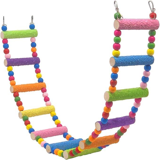 pinzones. escalera torcida escalera conuros para colgar madera para masticar escalera jaula con escalera Yue Juguete para loros de p/ájaros coco 7 unidades aras campanas para periquitos