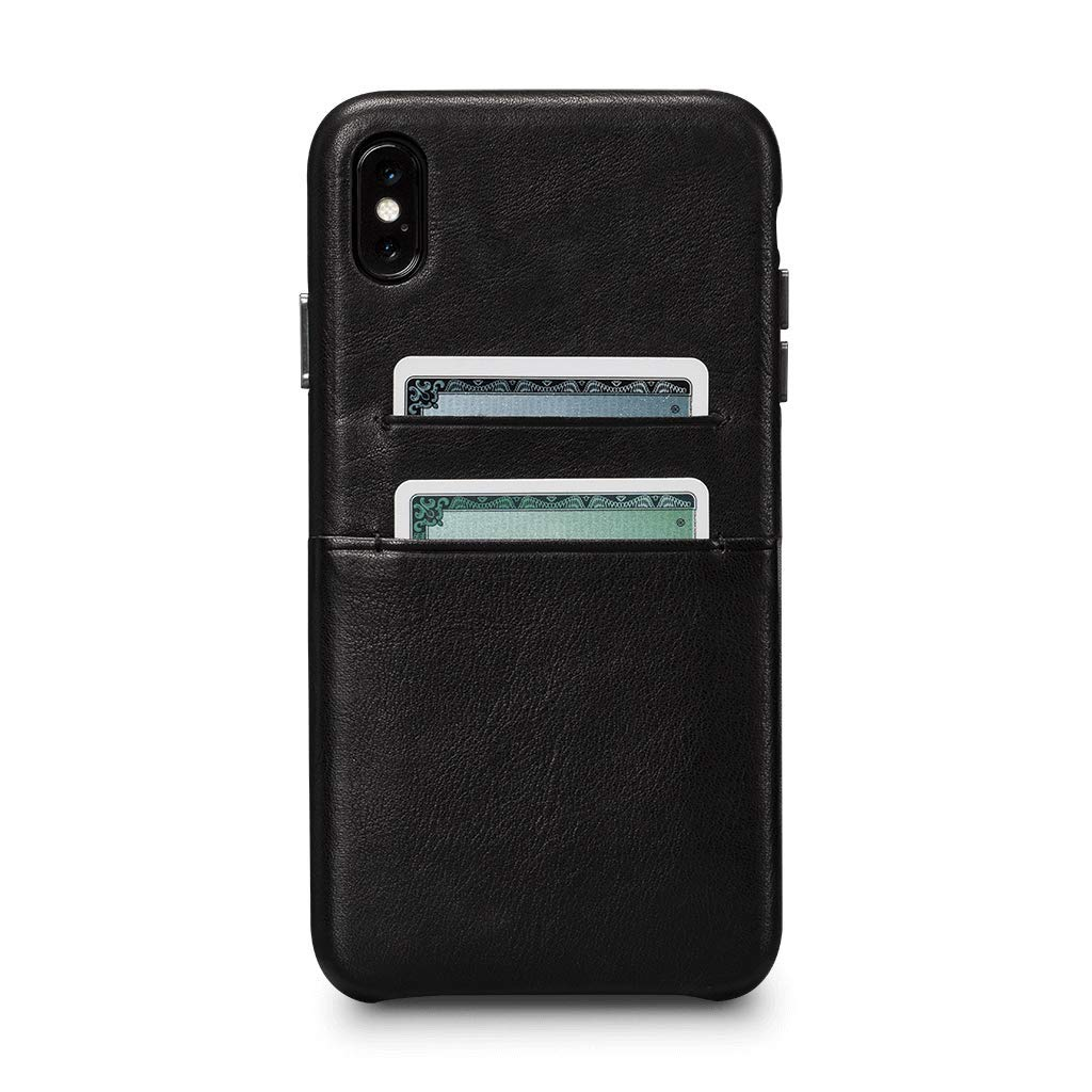 Sena Cases, Deen Leather Snap On Wallet Case for iPhone Xs & X - Wireless Charging Compatible - Black by Sena Cases