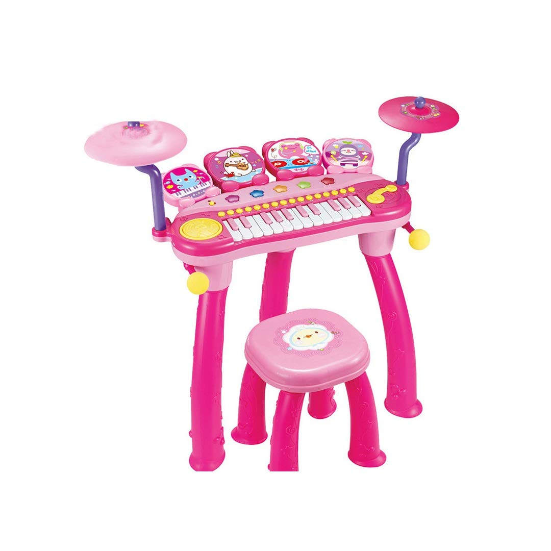 GAIXIA Rock Drum Music Piano Drum Combination Early Education Intelligence Electric Children Musical Toy 66.5x65x31.5cm Children's Educational Toys (Color : Pink) by GAIXIA