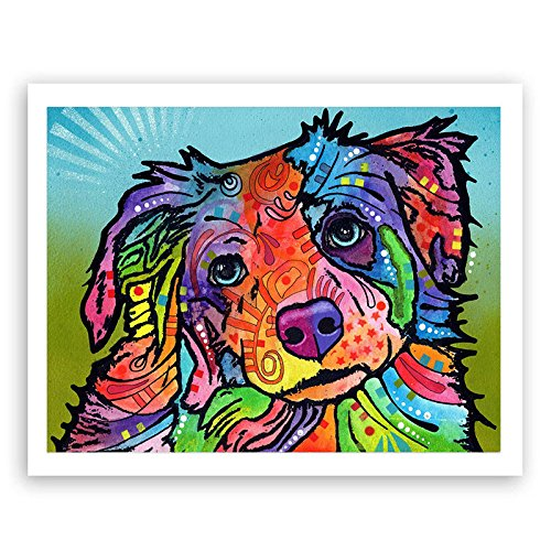 Auntwhale Dean Russo Dog Inkjet Oil Painting, Suitable for Living Room Coffee Shop Home Decor ()