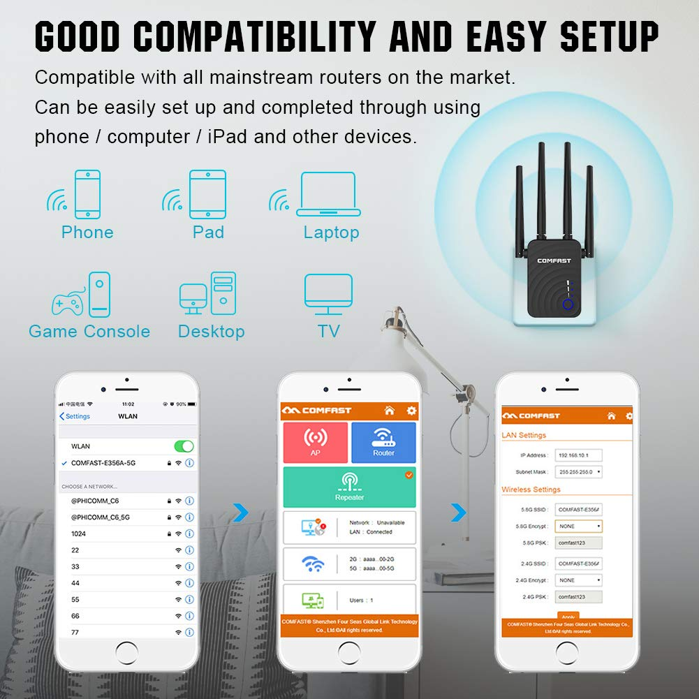 WiFi Extender 2.4/&5GHz Dual Band WiFi Repeater Range Extender 1200Mbps WiFi Booster Signal Amplifier 4 WiFi Antenna 360/° Full Coverage Network Compatible with Alexa//Extends WiFi to Smart Home