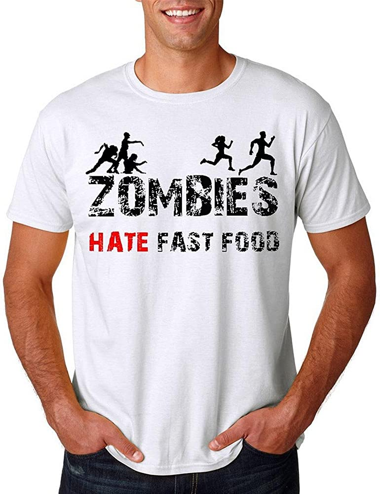 Loo Show Mens Zombie Hate Fast Food - Funny Zombie T-Shirt Tee