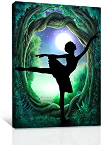 Family bedroom Wall Decor Canvas Wall Art for Girls room modern wall decorations for bathroom Green pictures Abstract paintings kitchen Canvas art ballet dance Hang pictures Artwork Home Decoration