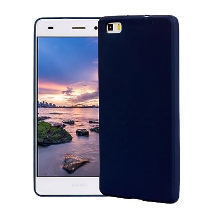 Funda HuaWei P8 Lite, Carcasa HuaWei P8 Lite Silicona Gel, OUJD Mate Case Ultra Delgado TPU Goma Flexible Cover para HuaWei P8 Lite - Azul
