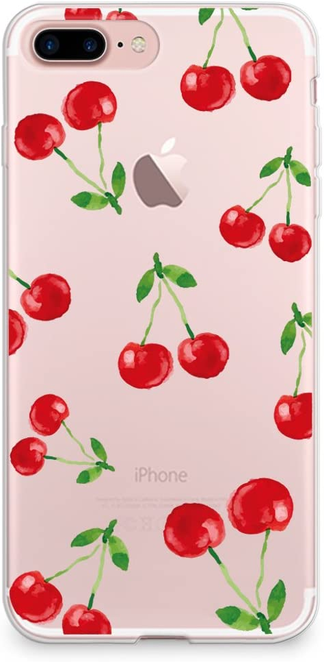 CasesByLorraine Compatible with iPhone 8 Plus/iPhone 7 Plus Case, Cherry Fruit Pattern Clear Transparent Flexible TPU Soft Gel Protective Cover for iPhone 7/8 Plus 5.5