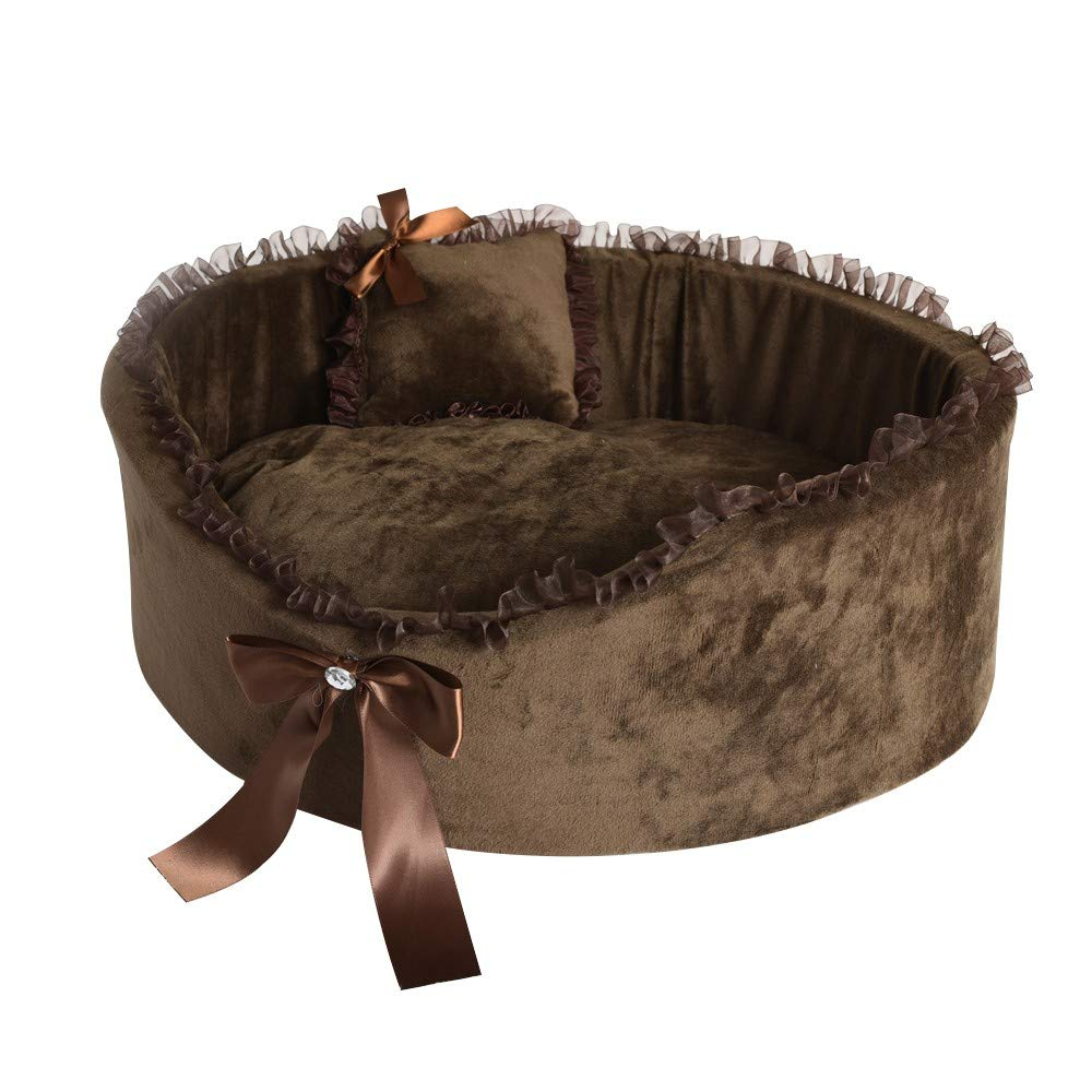 Brown LCimaybeauty Fluffy Oval Dog House Keep Warm Cat's Den Pet's Den Dog Cute Mattress Pet Supplies