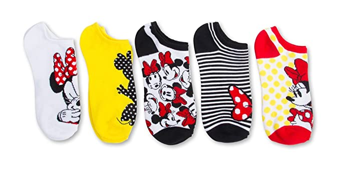Disney Minnie Mouse Girls Retro 5 PK no show socks