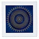3dRose Andrea Haase Art Illustration - Blue Detailed Mandala Illustration - 16x16 inch quilt square (qs_268240_6)