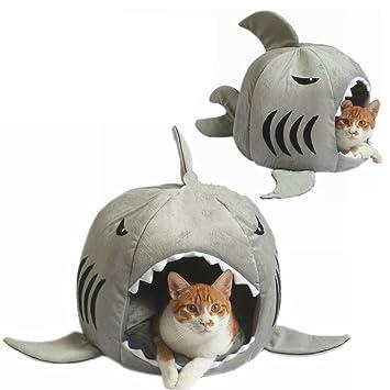 DiiZii Cama de Tiburón Suave Extraíble para Gato Pequeño, Cama Grande para Cueva, Creativa