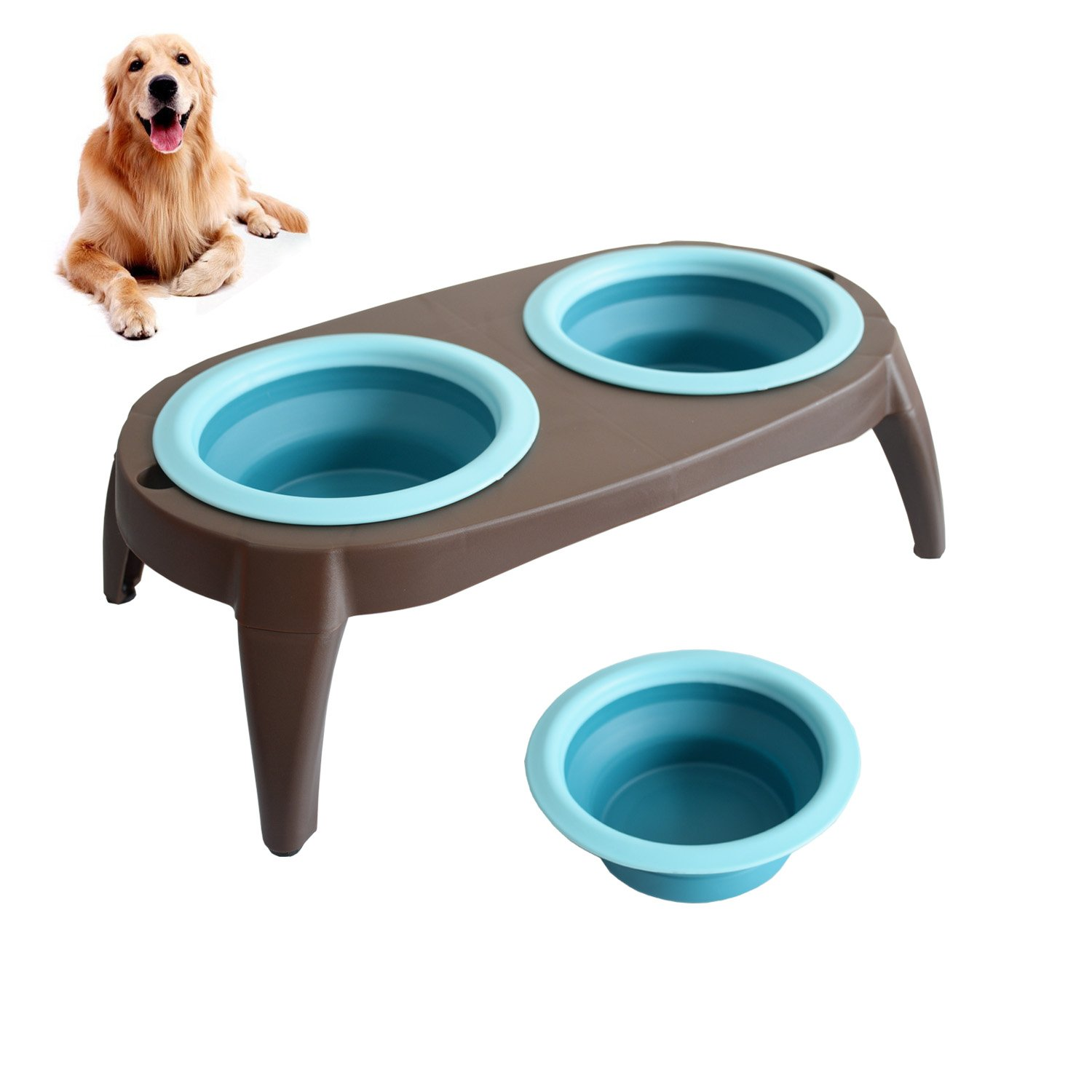 Elevated Dog Bowls Collapsible Pet Feeder Bowls Travel Double Cup Dish Dog Bowl Washable, Non Corrosive Rust Proof Raised Dog Feeding Station with Non Slip Stand Removable Pet Bowls