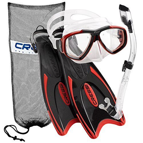 Mask Bag Ventilation Valve - Cressi Palau Long Fins, Red, M/L | (Men's 7-10) (Women's 8-11)