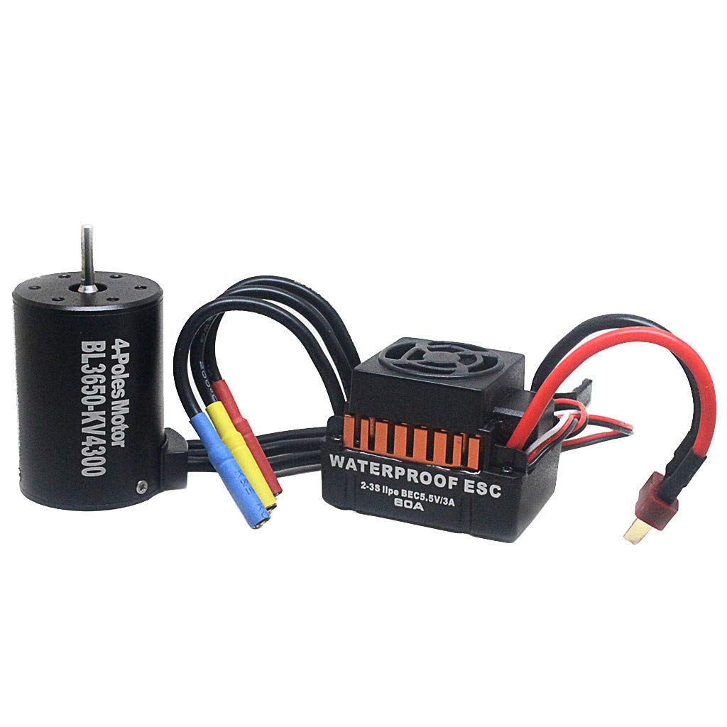 DDLmax RC Car Accessories, Waterproof B3650 4300KV Brushless Motor w/ 60A ESC Combo Set for 1/10 RC Car by DDLmax (Image #1)
