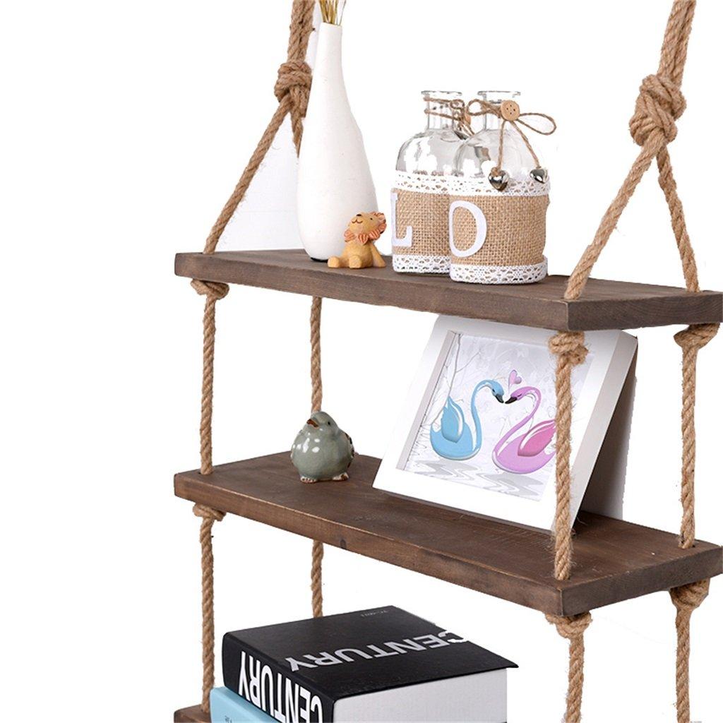 DS scaffale Mensola di Legno di creatività con mensole di Corda di Canapa Parete Appeso Come scaffale di stoccaggio scaffale Decorazioni da Parete Design Loft Stile Vintage # (Dimensioni : 1 Tiers) Dong Sheng shop