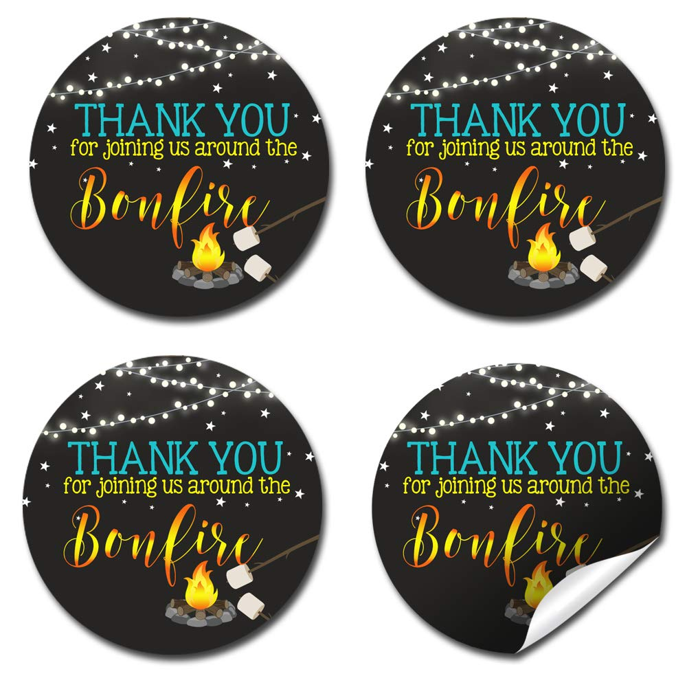 40 2 Party Circle Stickers by AmandaCreation Envelope Seals /& Goodie Bags Great for Party Favors Backyard Bonfire Camping Under The Stars Birthday Thank You Sticker Labels for Boys