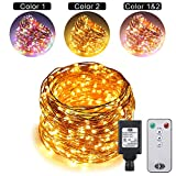 Dual Color LED String Lights Color Changing Plug in, RUICHEN 165Ft 500LEDs 10 Modes Copper Wire Decorative Fairy Lights+Remote&Timer for Bedroom,Patio,Garden (165Ft, Multicolor & Warm White)