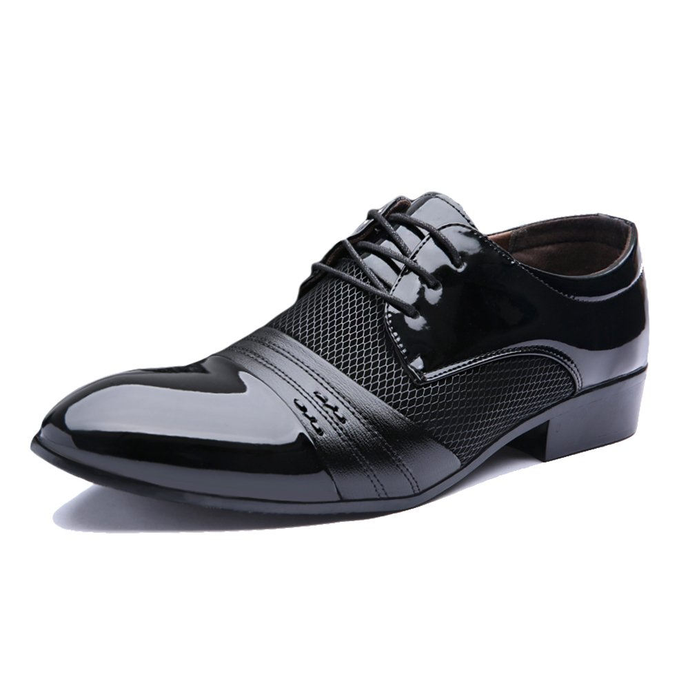 Hunleathy Men's Breathable Leather Oxfords Perforated Tuxedo Dress Shoes Size 10 Black