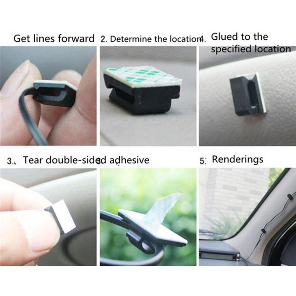 CALISTOUK 50Pcs Wires Fixing Clips Cable Holder Data Cord Tie Self-adhesive Line Organizer for Car Office Home