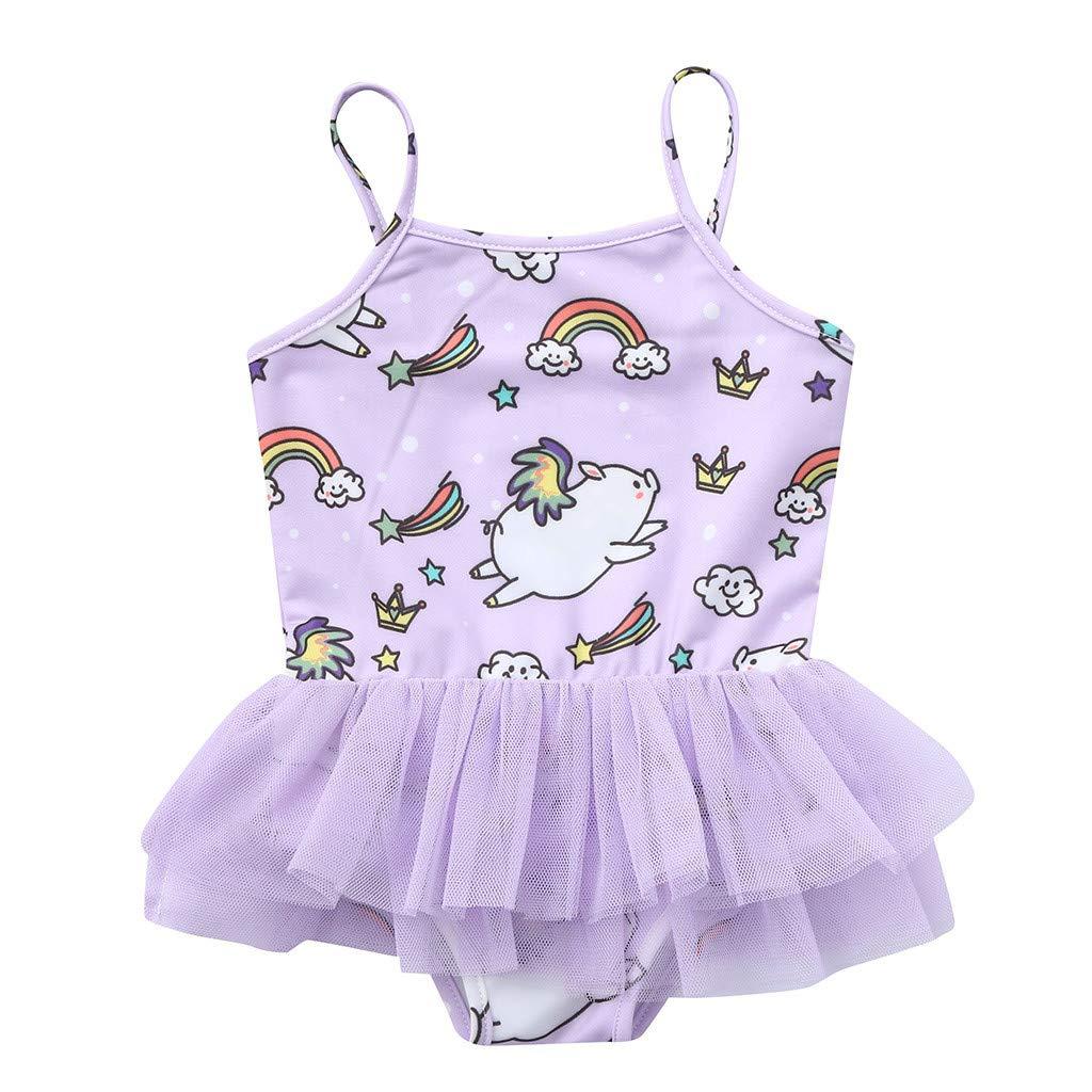 Nevera Baby Girls Toddler Cute Cartoon Print One Piece Skirt Swimsuit Swimwear Purple