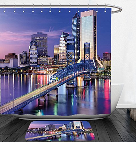 Nalahome Bath Suit: Showercurtain Bathrug Bathtowel Handtowel United States Urban Cityscape Bridge Office Buildings Jacksonville Florida Violet Blue Light Pink - Macy's Florida Jacksonville