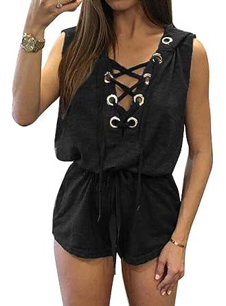 8e192669d712 Amazon.com  Zago Womens Summer Sleeveless Bandage Hood Short Romper  Jumpsuits  Clothing