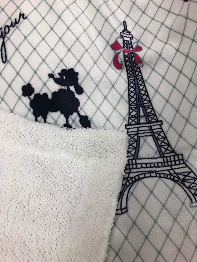 MB Home 2 Pieces Ultra Soft /& Warm Baby Toddler Girls Sherpa Blanket with Pillow Case Multicolor White Pink Black Paris Eiffel Tower Bonjour Printed Borrego Bed Blanket Plush Throw Twin Size # Paris