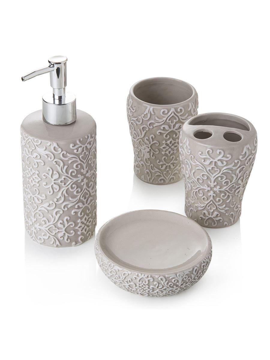 Set da Bagno Composto da 4 Pezzi in Ceramica Tortora Variante unica MainApps Montemaggi