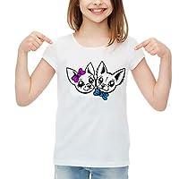 SpotApplick T Shirt Maglia Bambino Bambina Uomo Donna Coppia Cani Chihuahua Fiocco Mezza Manica 100% Cotone Bianca 001