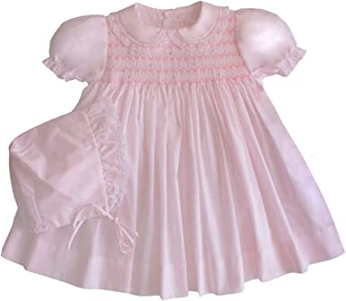 Petit Ami Baby Girls Fully Smocked Dress with Lace Trim