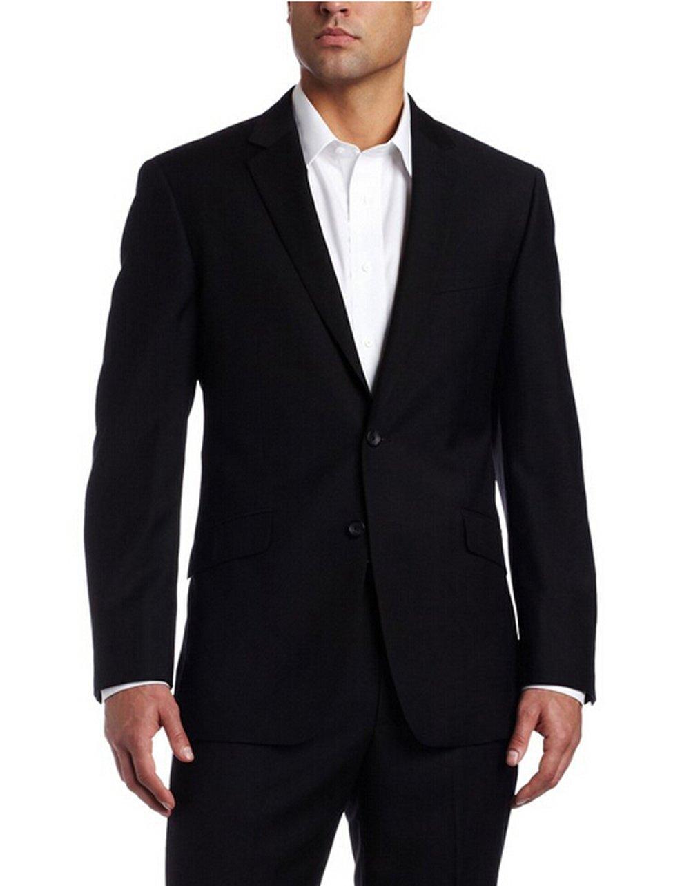 Love Dress Men's Black-Solid Suit Jacket and Pant L