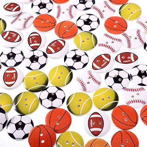 Uspeedy- Wooden Buttons Round Shape Soccer Football Baseball Volleyball Tennis Mixed Pattern Sewing Buttons 2 Holes Wood Buttons for Sewing Crafting 100 Pcs