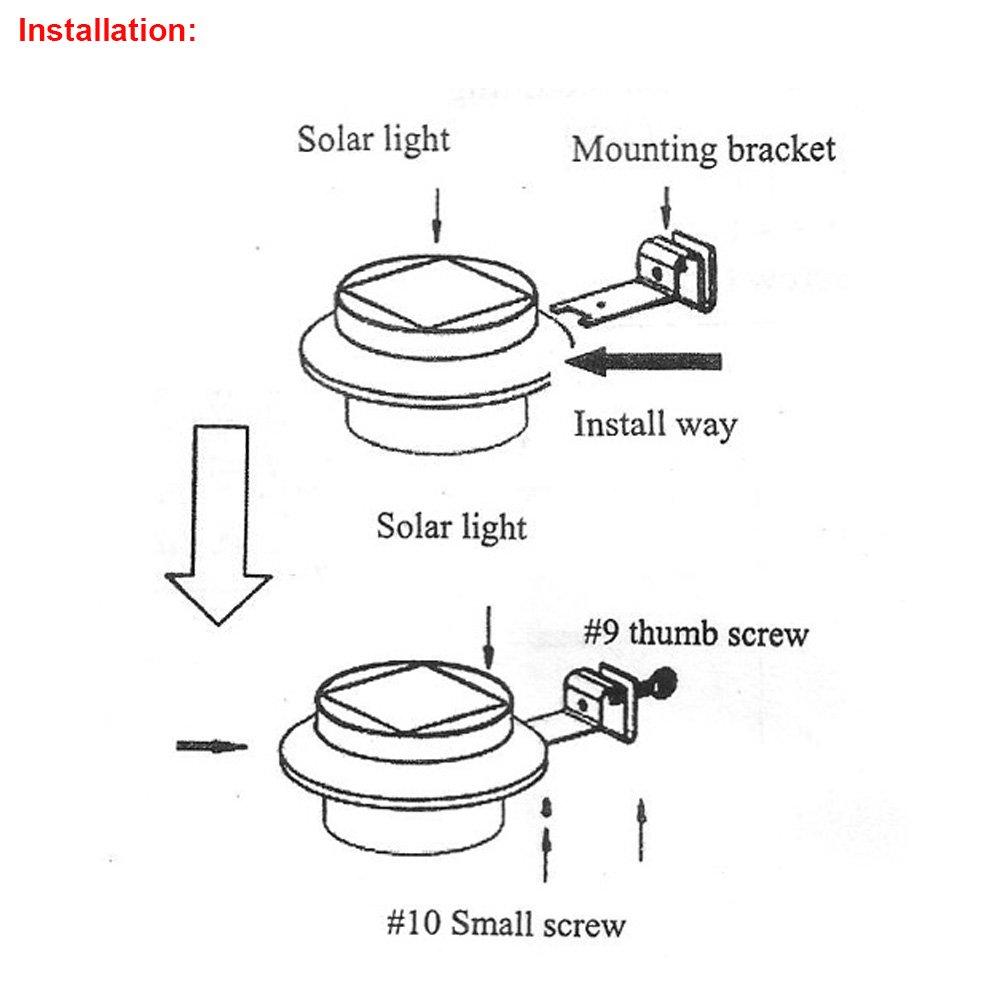 Solar Powered Gutter Light 3 LED Solar Powered Fence Roof Gutter Garden Yard Lamp Night Security Light 4 Pack White