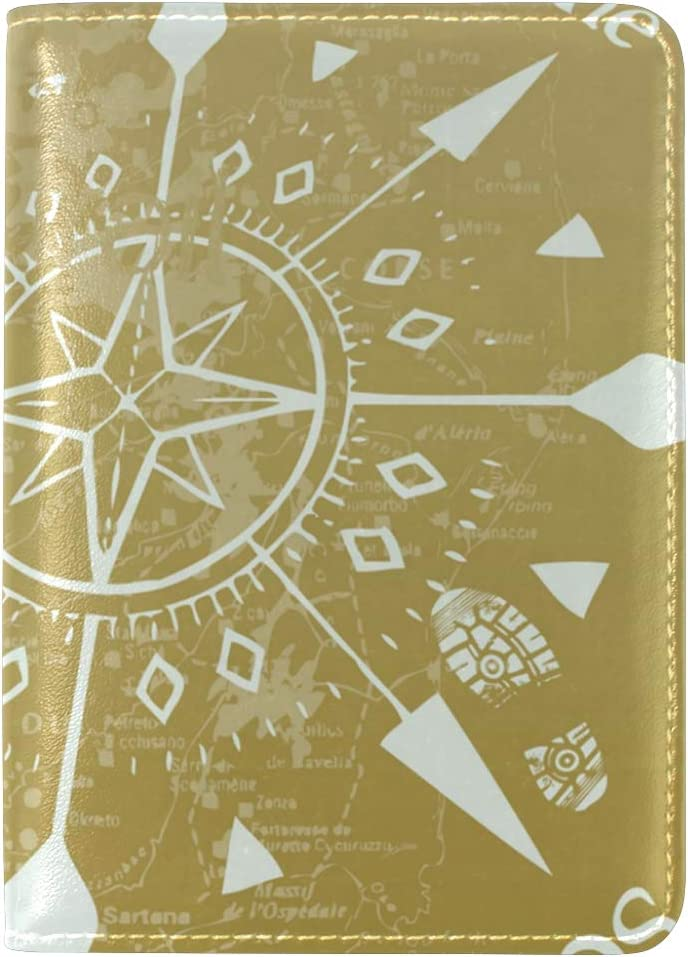LEISISI Compass Design Genuine Real Leather Passport Holder Cover Travel Case