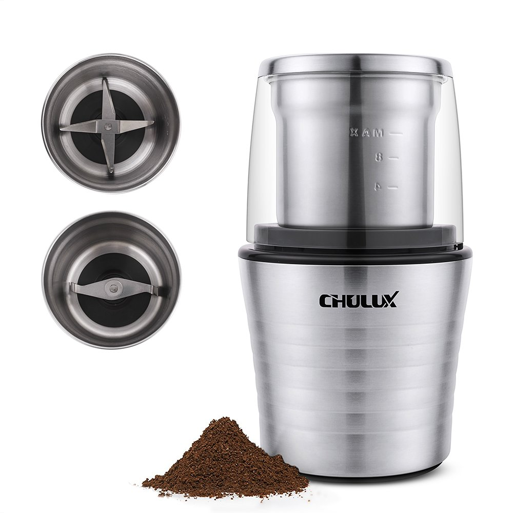CHULUX Electric Spices and Coffee Grinder with 2.5 Ounce Two Detachable Cups for Wet/Dry Food,Powerful Stainless Steel Blades and Cleaning Brush CL-CG17006