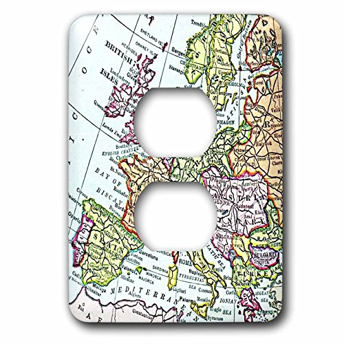 3dRose  lsp_112938_6 Vintage European Map of Western Europe Britain Uk France Spain Italy Etc Retro Geography Travel 2 Plug Outlet Cover by 3dRose