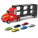 Toy Truck Transport Car Carrier Toy for Boys and Girls age 3-10 yrs old - Hauler Truck Includes 6 Toy Cars and…