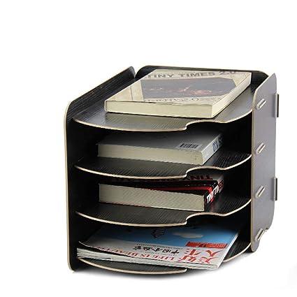 CLEAVE WAVES Mueble Archivador Organizador De Escritorio De Madera De 4 Capas Multifuncional Caja De Almacenamiento