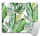 Green Tropical Palm & Fern Leaves Mouse Pad, Tropical Palm Leaves Mouse pad for Office Banana Leaf Jungle Mousepad