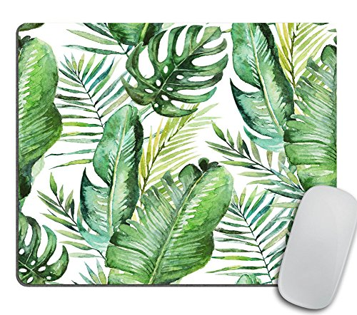 (Green Tropical Palm & Fern Leaves Mouse Pad, Tropical Palm Leaves Mouse pad for Office Banana Leaf Jungle)
