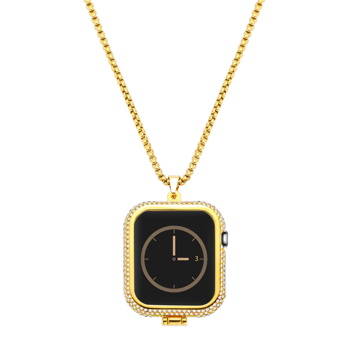 NICERIO NICERIO Compatible with Apple Watch Series 4 Diamond Metal iWatch Necklace Pendant Frame Protective Case Bumper Golden (44mm) by NICERIO