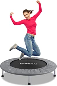 """BCAN 38"""" Foldable Mini Trampoline, Fitness Trampoline with Safety Pad, Stable & Quiet Exercise Rebounder for Kids Adults Indoor/Garden Workout Max 300lbs"""