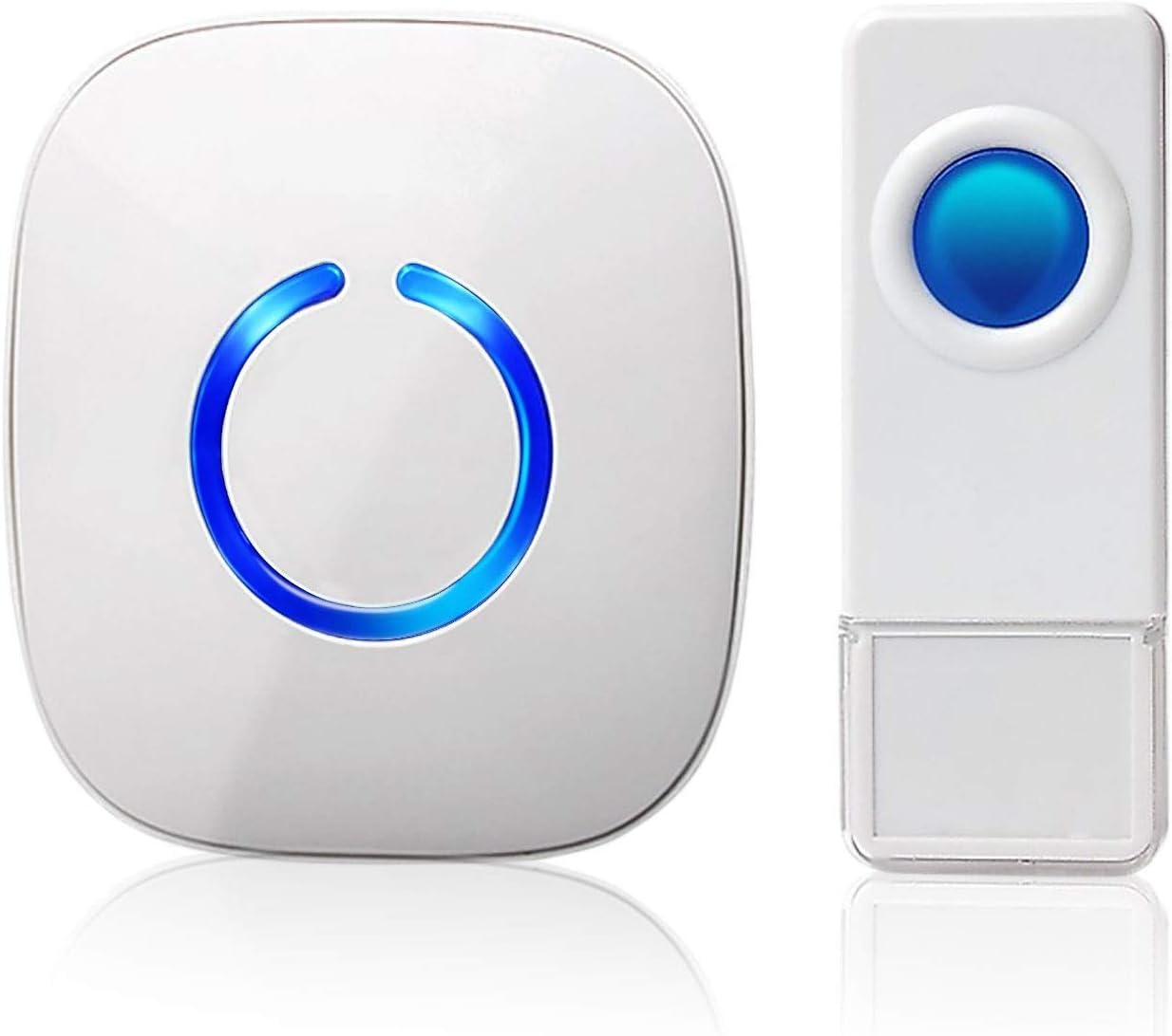 Wireless Doorbell by SadoTech – Waterproof Door Bells & Chimes – Over 1000-Foot Range, 52 Door Bell Chime, 4 Volume Levels with LED Flash – Wireless Doorbells for Home – Waterproof Model C (White)