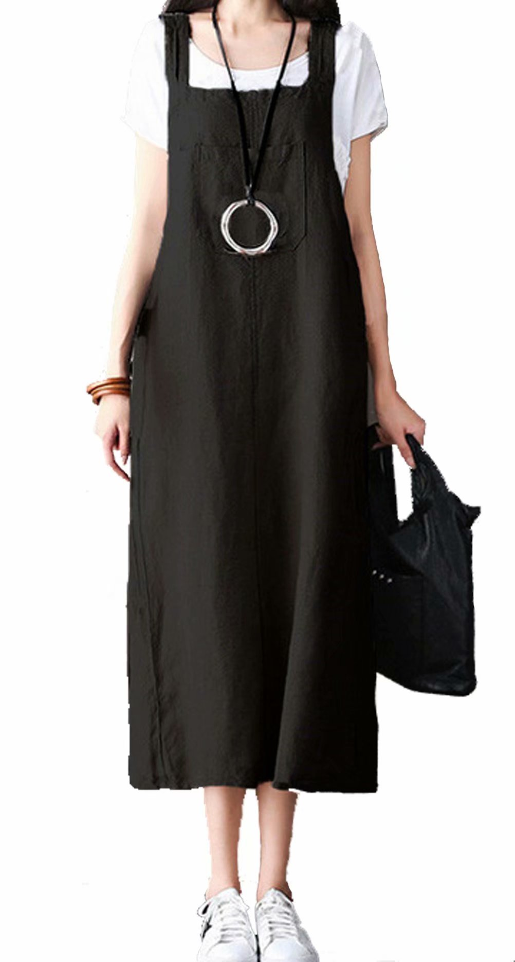 MNLYBABY Women Bib Overalls Sleeveless Dungarees Strappy Dress Casual Loose Baggy Sundress Size 2XL (Black)