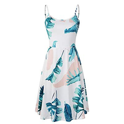 suielve Women's Sleeveless Adjustable Strappy Summer Floral Flared Swing Dress, FL-8, X-Large: Ropa y accesorios